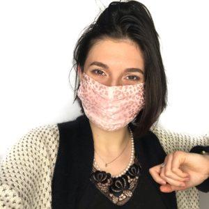 masque en soie rose