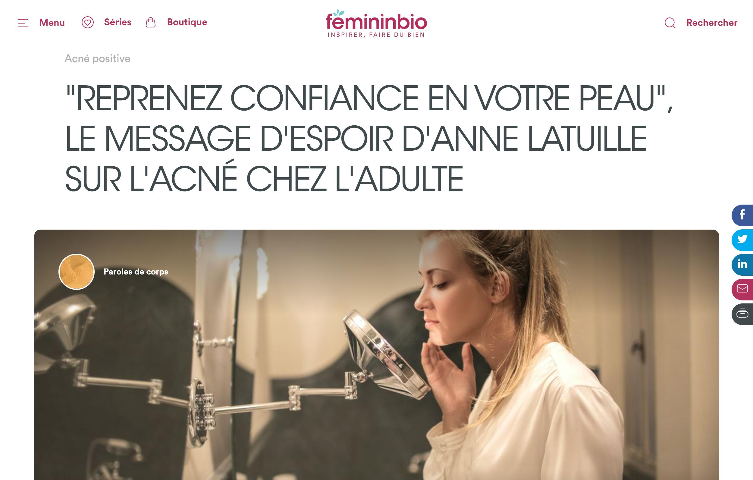 reprenez confiance en votre peau : le message d'Anne Latuille Féminin bio