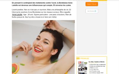 """Article Sud Ouest """"Bien-être : l'acné positive, un credo porteur"""" 25/04/2021"""